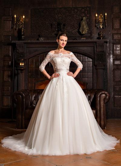 Corte de baile Hombros caídos Cola corte Tul Encaje Vestido de novia