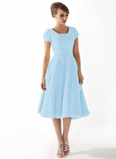 A-Linie Rechteckiger Ausschnitt Knielang Chiffon Kleid für die Brautmutter mit Rüschen Perlstickerei