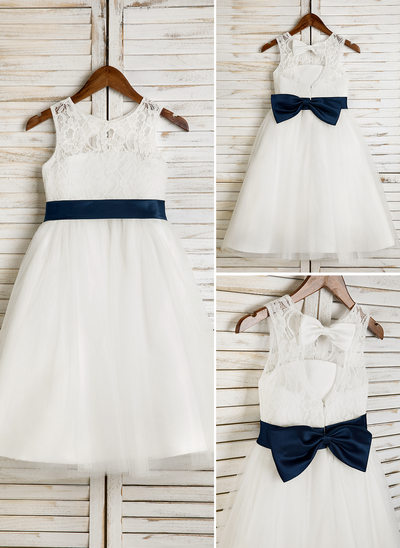 A-Line/Princess Tea-length Flower Girl Dress - Tulle/Lace Sleeveless Scoop Neck With Sash/Bow(s)/Back Hole (Undetachable sash)