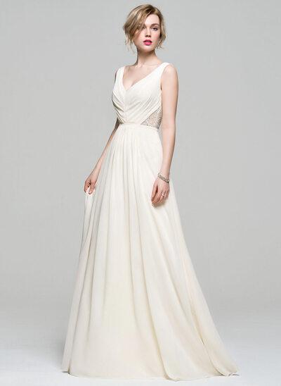A-Linie/Princess-Linie V-Ausschnitt Bodenlang Chiffon Brautjungfernkleid mit Rüschen Lace Perlstickerei Pailletten