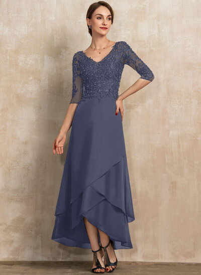 A-Line V-neck Asymmetrical Chiffon Lace Mother of the Bride Dress With Beading Sequins
