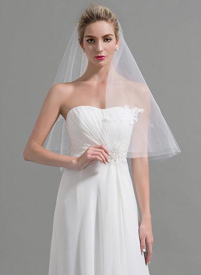 One-tier Cut Edge Waltz Bridal Veils With Applique
