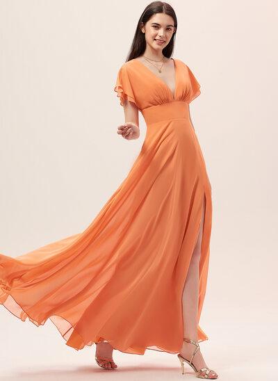 Áčkové Šaty V-Výstřihem Délka na zem Šifón Šaty pro družičku S Rozdělit Přední