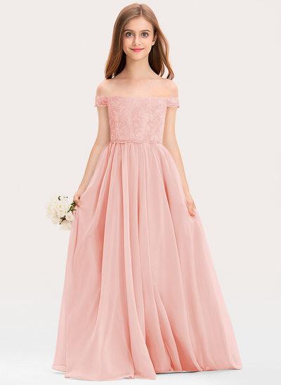 A-Line Off-the-Shoulder Floor-Length Chiffon Lace Junior Bridesmaid Dress
