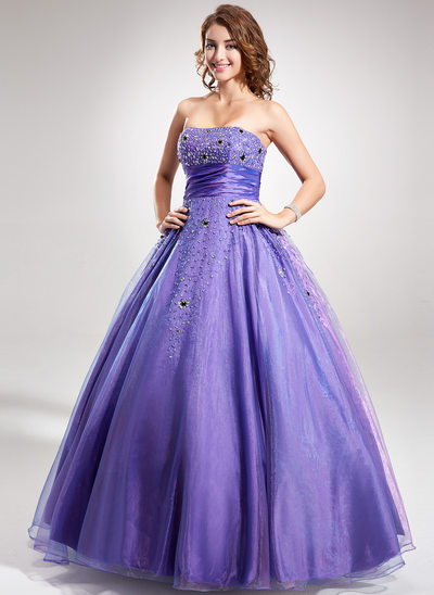 Ball-Gown Strapless Floor-Length Taffeta Quinceanera Dress With Ruffle Beading Sequins