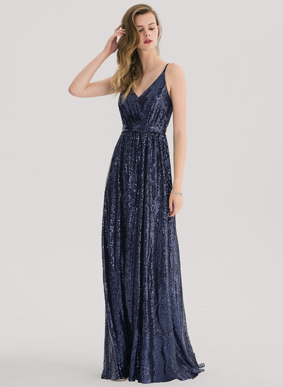 A-Line/Princess V-neck Sweep Train Sequined Evening Dress With Lace Sequins