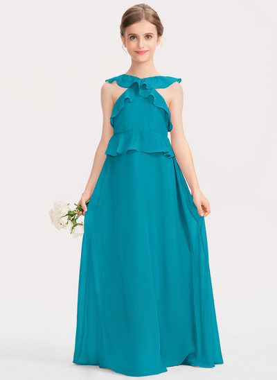 Corte A Decote redondo Longos Tecido de seda Vestido de daminha júnior com Babados em cascata