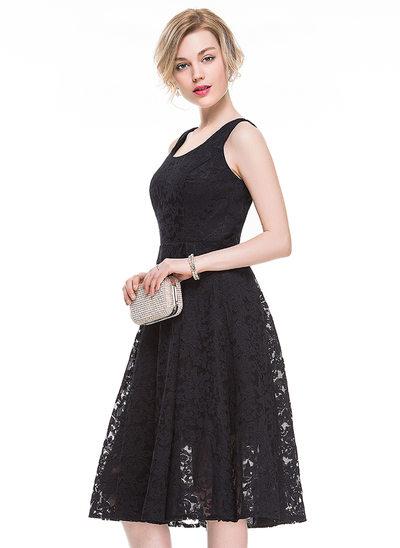 Vestidos princesa/ Formato A Decote redondo Coquetel Renda Vestido de cocktail