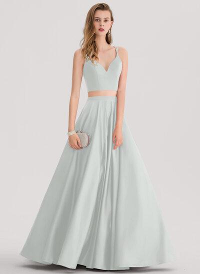 Платье для Балла возлюбленная Длина до пола Атлас Платье Для Выпускного Вечера