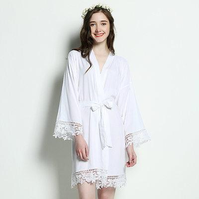 Bride Gaver - Classic Solid Color Elegant Bomuld Robe (Sæt af 1)
