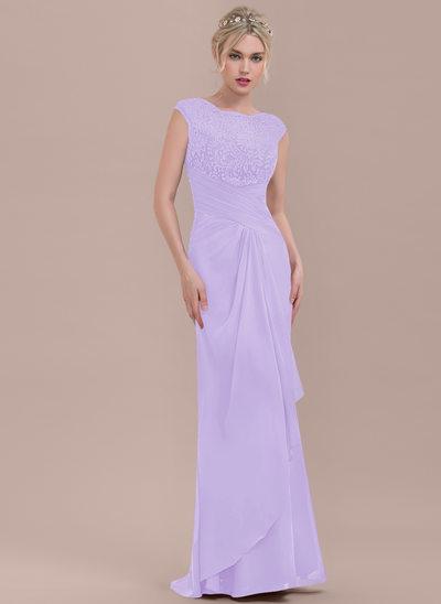 Tubo Decote redondo Longos Tecido de seda Renda Vestido de madrinha com Babados em cascata