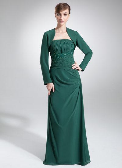 Çan/Prenses Askısız Uzun Etekli Şifon Gelin Annesi Elbisesi Ile Büzgü Dantel Boncuk Pullar