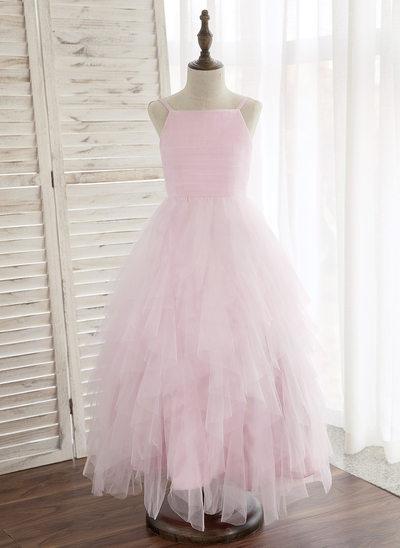 A-Line/Princess Ankle-length Flower Girl Dress - Tulle Sleeveless Straps