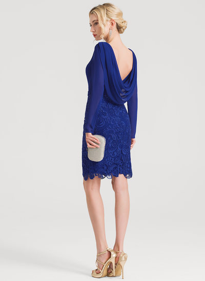 Sheath/Column Scoop Neck Knee-Length Lace Cocktail Dress With Ruffle