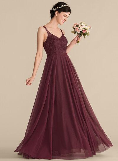 Çan/Prenses V yaka Uzun Etekli Tül Dantel Nedime Elbisesi