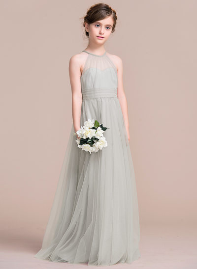 Forme Princesse Longueur ras du sol Robes à Fleurs pour Filles - Tulle Sans manches Col rond avec Plissé
