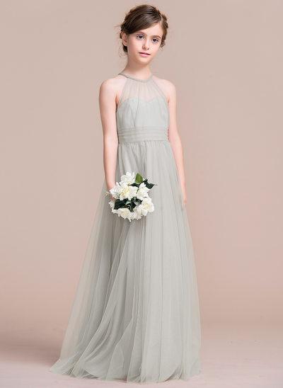 Vestidos princesa/ Formato A Longos Vestidos de Menina das Flores - Tule Sem magas Decote redondo com Pregueado