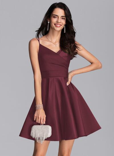 A-Line V-neck Short/Mini Satin Prom Dresses With Ruffle Pockets