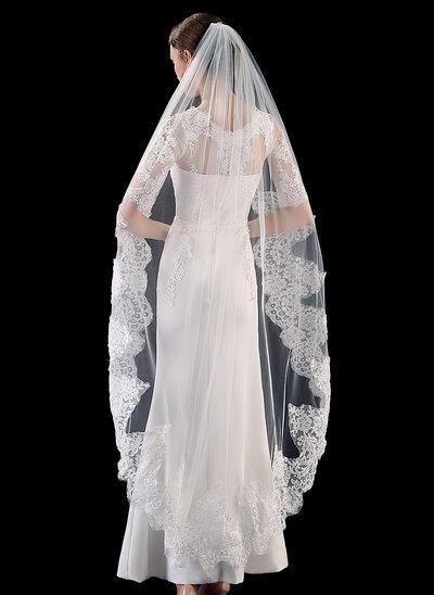 Uno capa Con Aplicación de encaje Velos de novia vals con Encaje