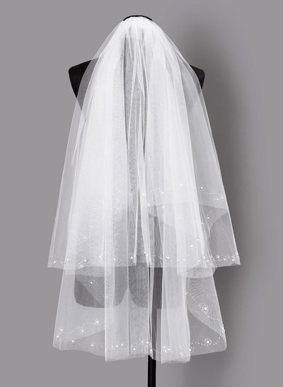 Two-tier Elbow Bridal Veils With Beading