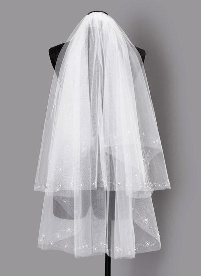 Due strati Velare da sposa gomito con Perline