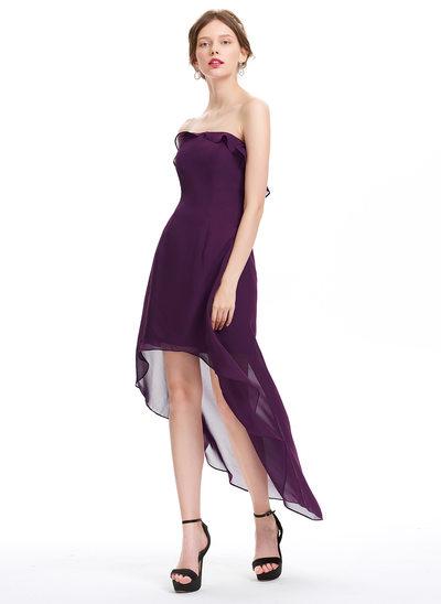 Forme Princesse Sans bretelle Asymétrique Mousseline de soie Robe de soirée étudiante avec Robe à volants