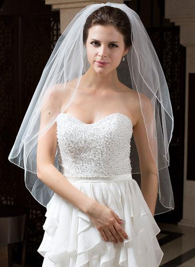 Zweischichtig Walzer Braut Schleier mit Gebündelter Rand