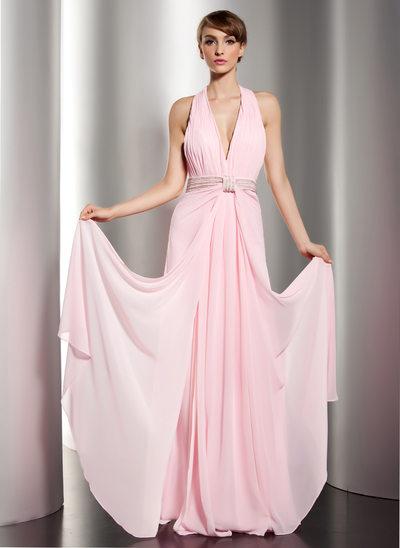 A-Linie/Princess-Linie Träger Bodenlang Chiffon Festliche Kleid mit Rüschen Perlen verziert