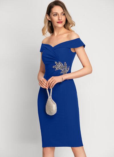 Платье-чехол Выкл-в-плечо Длина до колен стретч-креп Коктейльные Платье с развальцовка