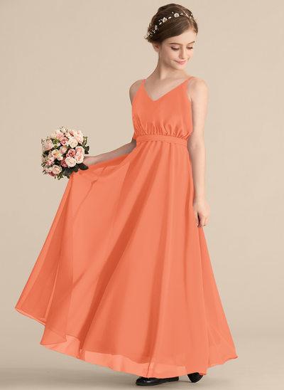 Vestidos princesa/ Formato A Decote V Longos Tecido de seda Vestido de daminha júnior com Curvado