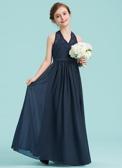 A-Line/Princess Halter Floor-Length Chiffon Junior Bridesmaid Dress