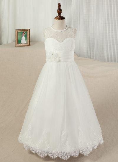 A-Line/Princess Floor-length Flower Girl Dress - Satin/Lace Sleeveless Scoop Neck