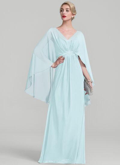 Vestidos princesa/ Formato A Decote V Longos Tecido de seda Vestido para a mãe da noiva com Pregueado Beading