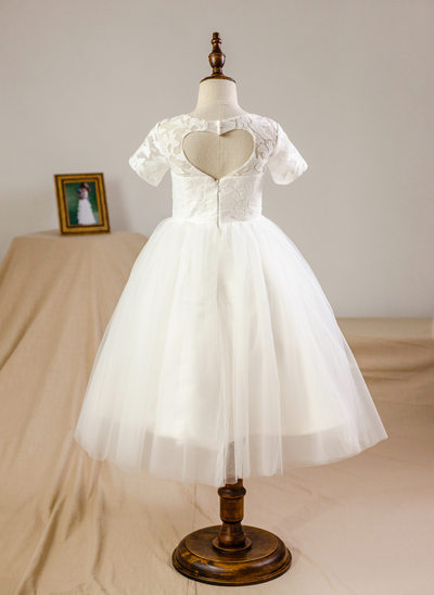 3809a565414 Ball Gown Knee-length Flower Girl Dress - Tulle Lace Short Sleeves Scoop  Neck