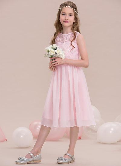 A-Lijn/Prinses Ronde Hals Knie-Lengte De Chiffon Junior Bruidsmeisjes Jurk met Roes