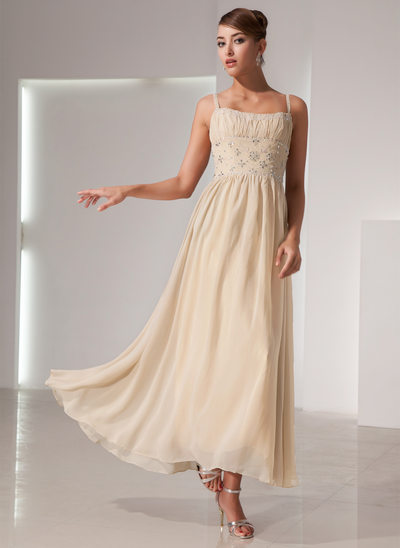 A-Line/Princess Scoop Neck Ankle-Length Chiffon Holiday Dress With Ruffle Beading