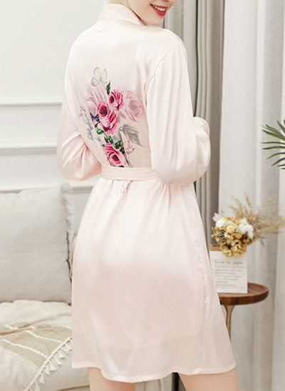 Charmeuse Bride Bridesmaid Junior Bridesmaid Floral Robes