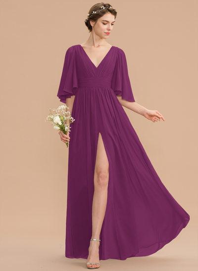 A-Line V-neck Floor-Length Chiffon Bridesmaid Dress With Ruffle Bow(s) Split Front