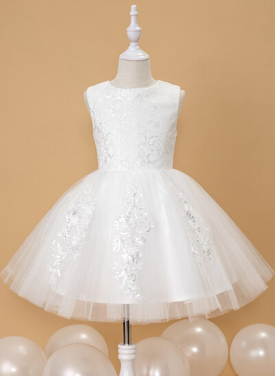 Plesové/Princesový Po kolena Flower Girl Dress - Tyl Bez rukávů Scoop Neck S Krajka/flitry