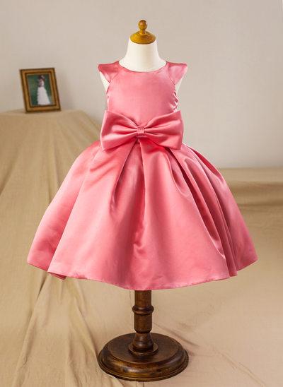 Ball Gown Knee-length Flower Girl Dress - Satin Sleeveless Scoop Neck With Bow(s)