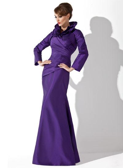 Trompete/Meerjungfrau-Linie High Neck Bodenlang Taft Kleid für die Brautmutter mit Rüschen