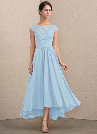 A-Linie U-Ausschnitt Asymmetrisch Chiffon Spitze Kleid für die Brautmutter