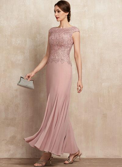 Trompete/Sereia Decote redondo Longuete Tecido de seda Renda Vestido para a mãe da noiva
