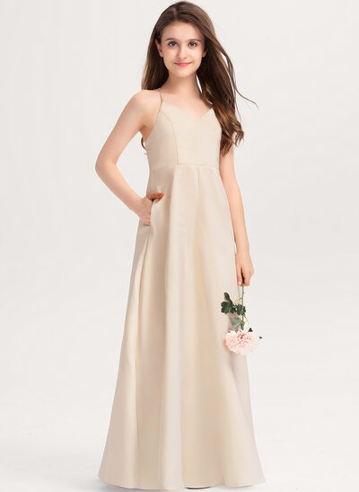 A-Linie V-Ausschnitt Bodenlang Satin Kleider für junge Brautjungfern mit Taschen