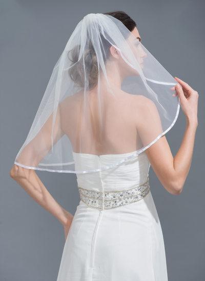 1 couche Bord en ruban Voile de mariée longueur coude avec Ruban
