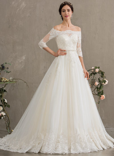 9218120adfa61 Ball-Gown/Princess Off-the-Shoulder Court Train Tulle Wedding Dress With