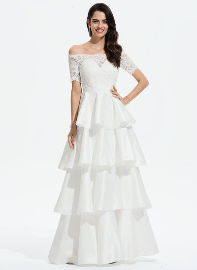 Corte de baile/Princesa Fuera del hombro Hasta el suelo Satén Vestido de baile de promoción con Encaje