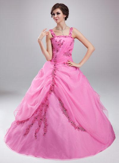 Duchesse-Linie Rechteckiger Ausschnitt Bodenlang Organza Quinceañera Kleid (Kleid für die Geburtstagsfeier) mit Rüschen Perlen verziert Applikationen Spitze