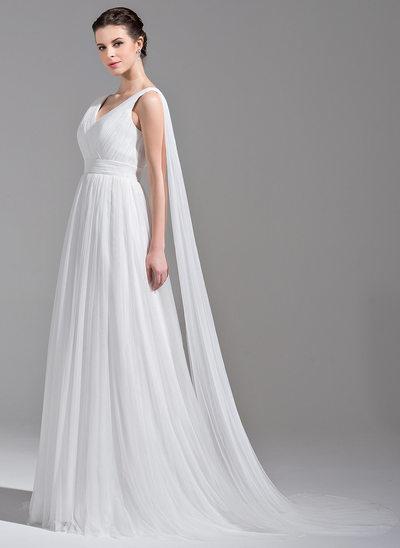 A-linjeformat V-ringning Watteau släp Tyll Bröllopsklänning med Rufsar