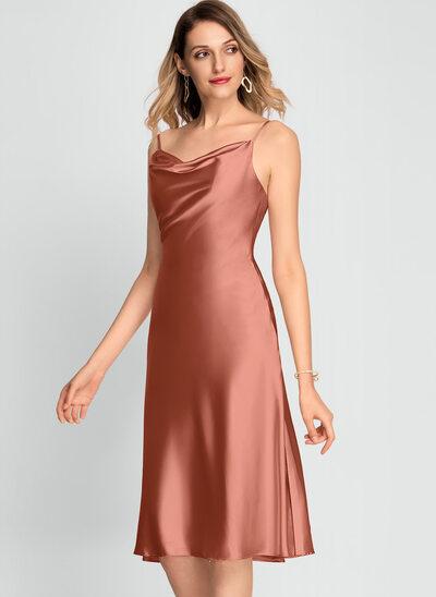 Linia A Dekolt Woda Do Kolan Rayon Sukienki Koktajlowe Z Podział przednia
